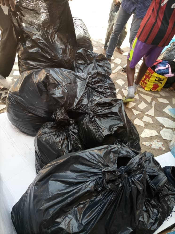 Bags of clothes donated by ICC
